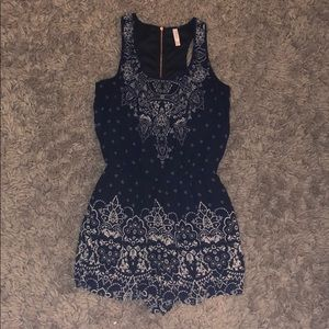Navy and white romper